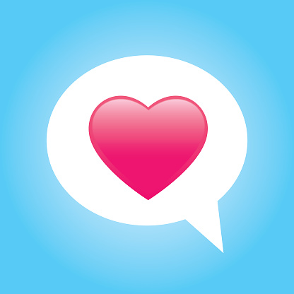 Pink Shiny Heart Speech Bubble