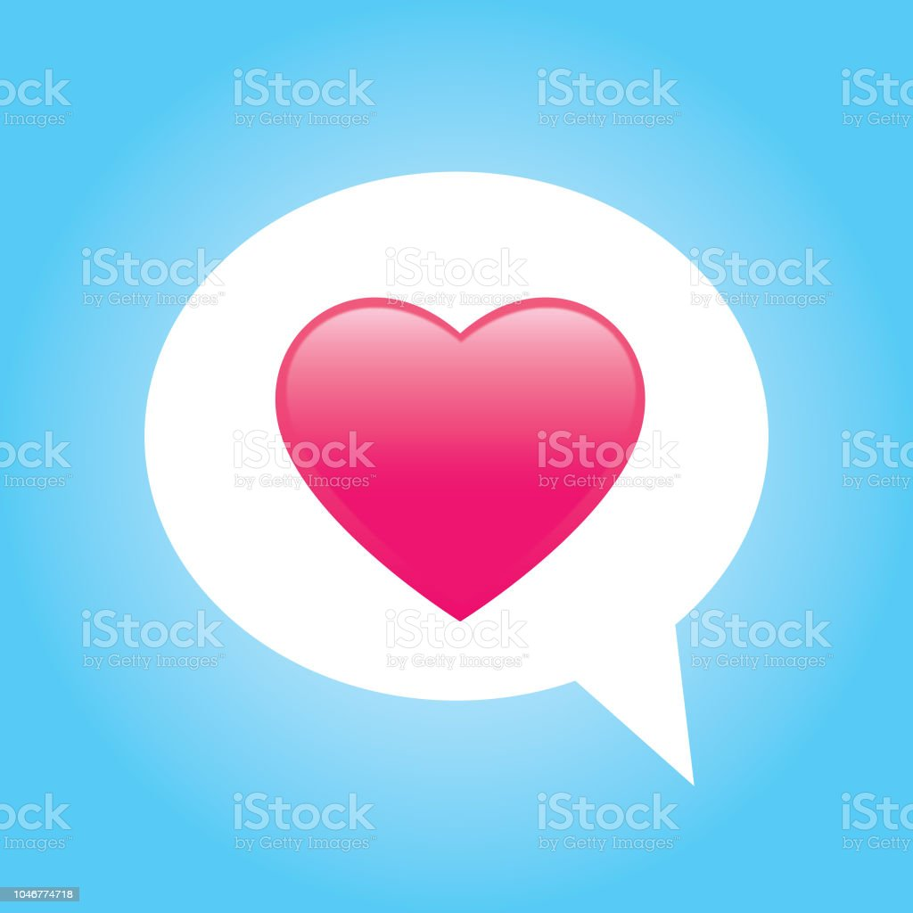 Pink Shiny Heart Speech Bubble vector art illustration