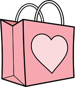 Pink Shopping Bag with Heart