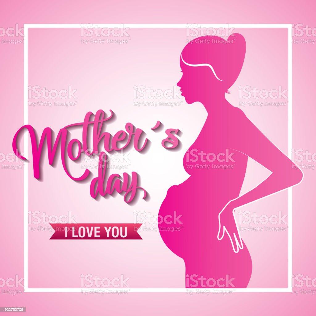 Pembe Siluet Hamile Kadin Anneler Gunu Seni Seviyorum Stok Vektor