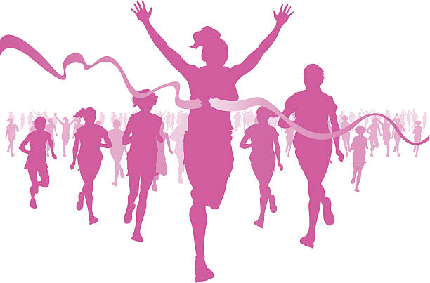 Pink silhouettes of women running, crossing the finish line vector art illustration