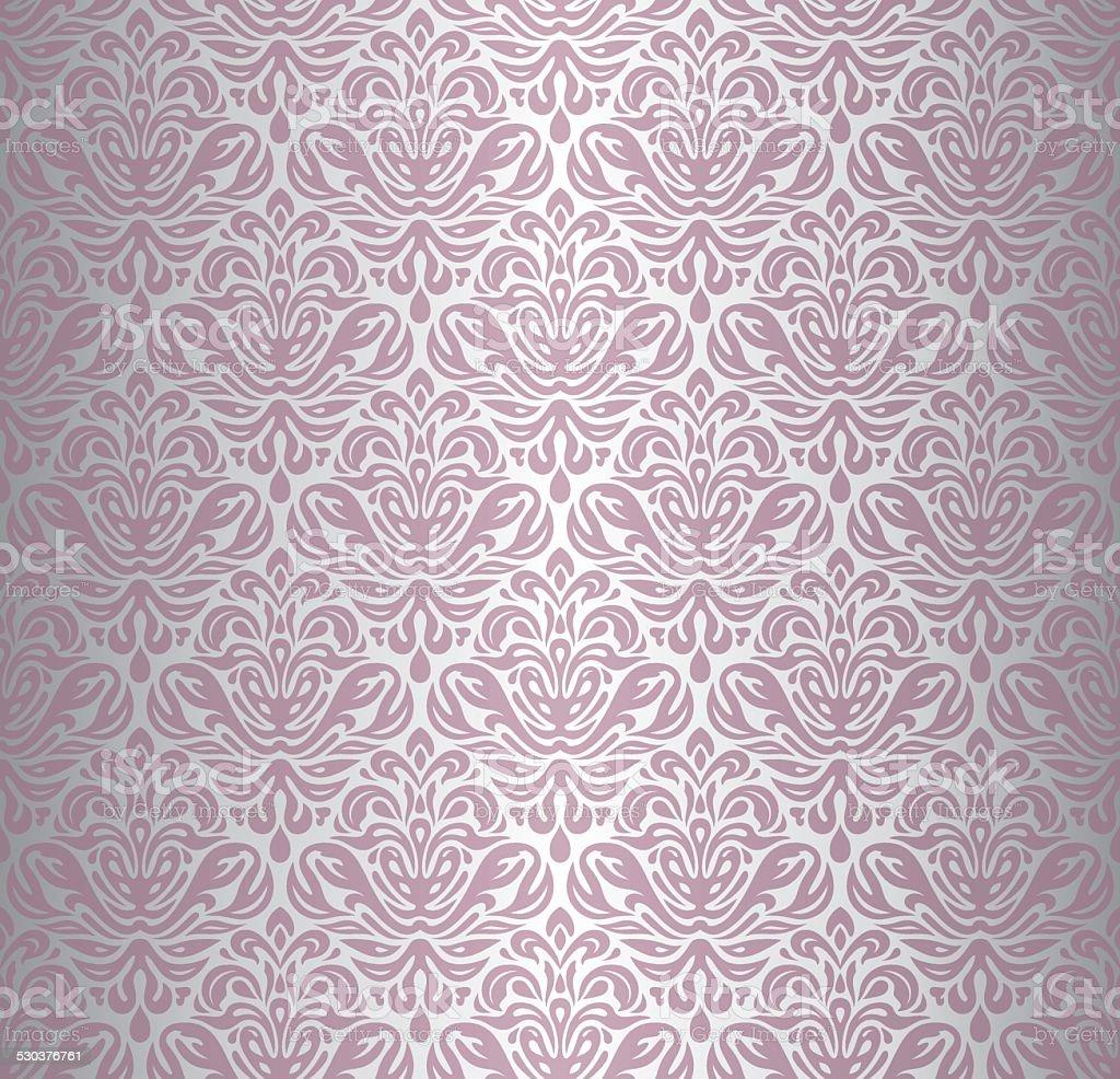 Pink & silver renaissance pattern  vintage wallpaper vector art illustration
