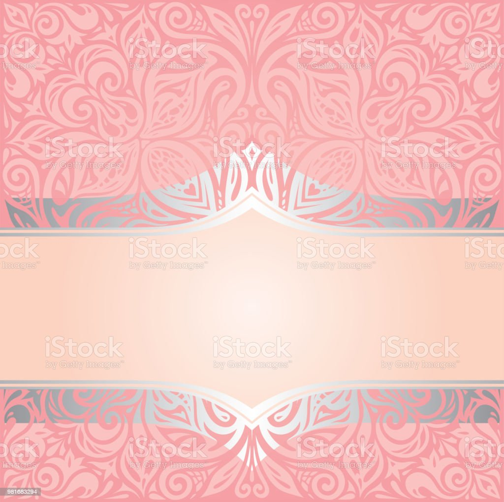 Pink Silver Retro Decorative Invitation Wallpaper Trendy Fashion Design In Vintage Style Royalty Free
