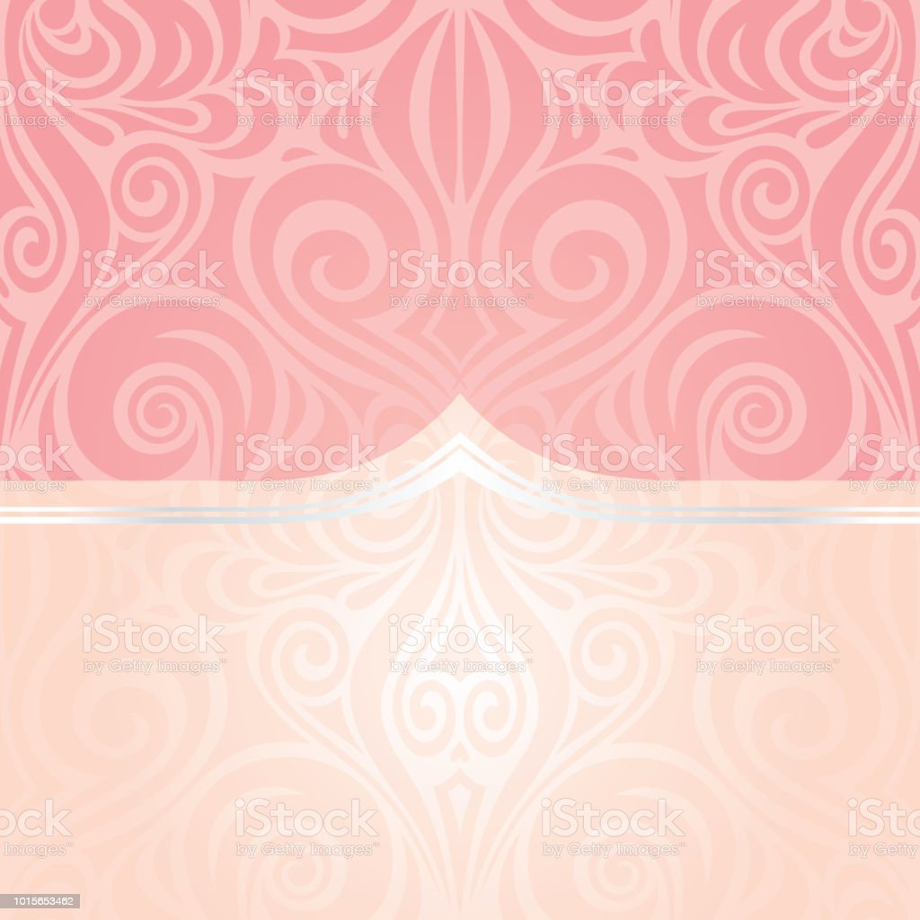 Pink Silver Wedding Retro Decorative Invitation Wallpaper Trendy Fashion Mandala Design With Copy Space Royalty