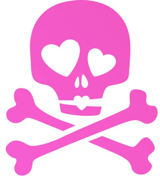 ilustraciones, imágenes clip art, dibujos animados e iconos de stock de rosa cráneo en amor irónico ícono. - ironía
