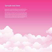 Pink sky with clouds. Vector background. Beautiful sky.