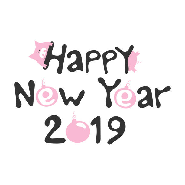 pink smile pig and hand drawn funny lettering happy new year 2019 fashion baby graphic