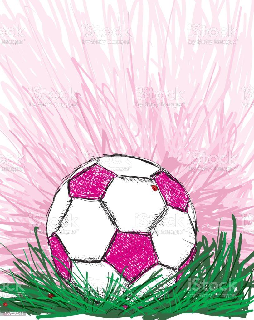 Rosa bola de futebol e joaninha na grama - ilustração de arte em vetor