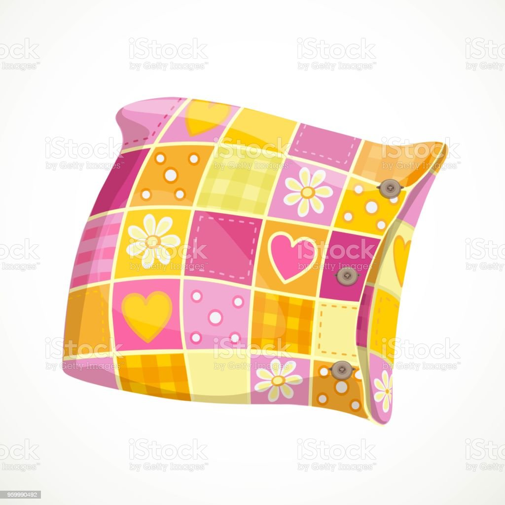Pink soft pillow in a patterned pillowcase object isolated on a white background vector art illustration