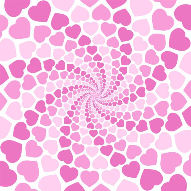 Rosa Spiralherz-Hintergrund Hintergrund, hypnotisierenden Tunnel. Symbolisch für Die Verzückung der Liebe, Verwirrung der Liebe, Liebe Charme. Illustration im weißen Hintergrund – Vektorgrafik
