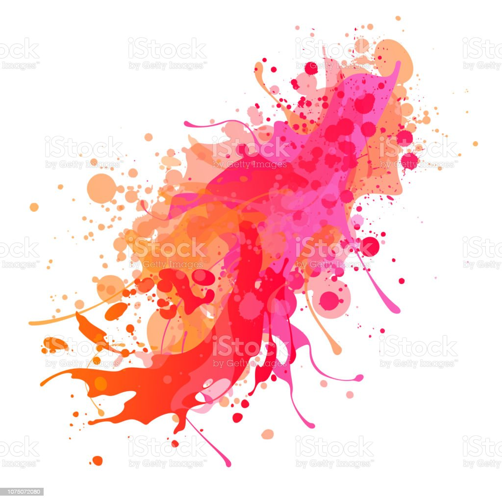 Bright pink and red paint splash background