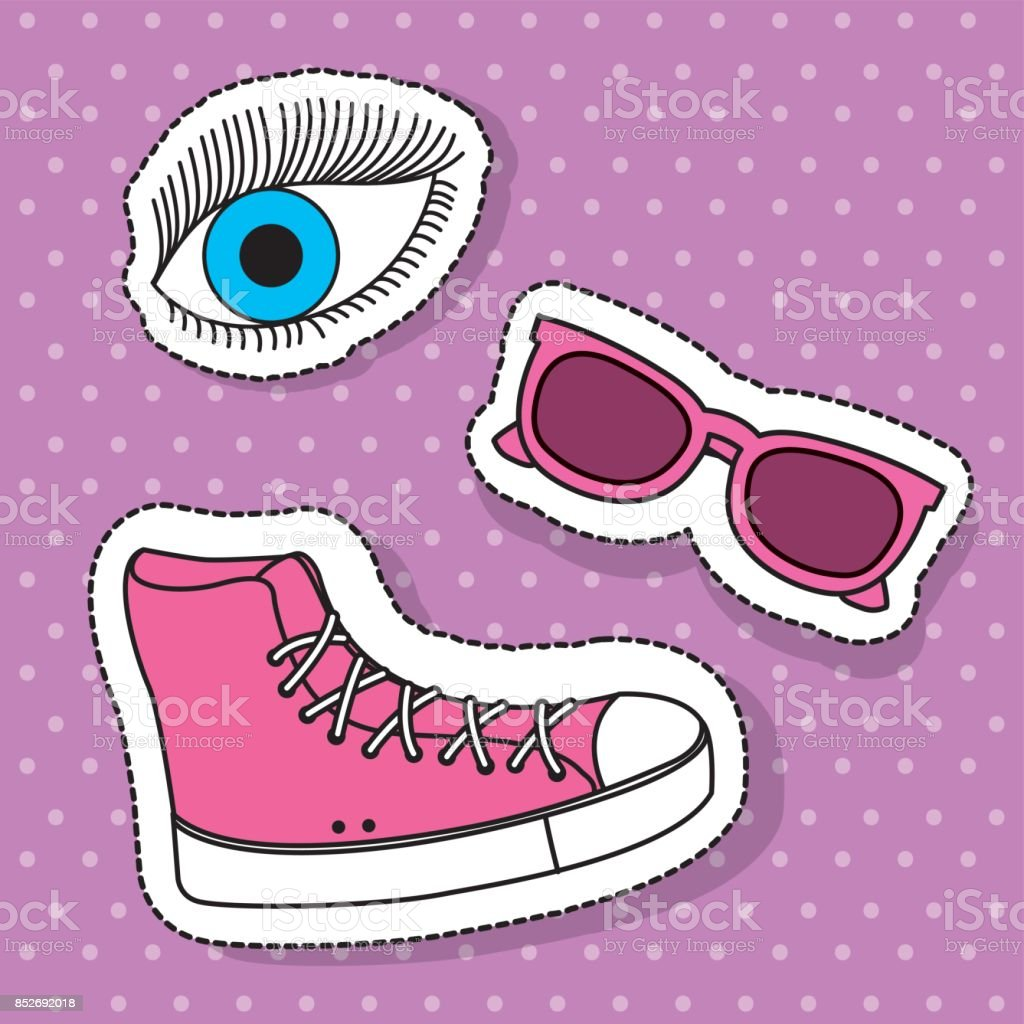 pink sport boot sunglasses and eye fantasy elements vector art illustration
