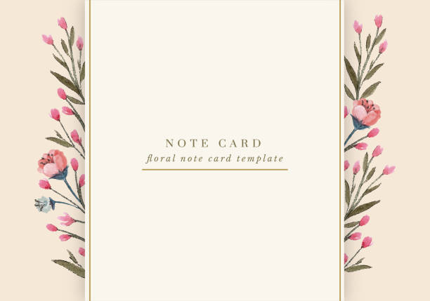 Pink Spring Flowers Note Card Floral note card templates designed with pink spring flowers and various borders for a romantic yet modern look. lavender color stock illustrations