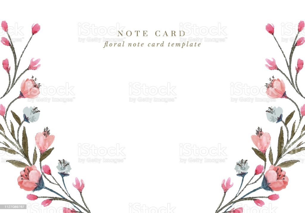 pink spring flowers note card stock illustration