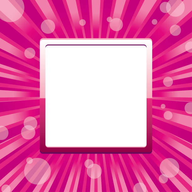 Pink square glitter frame with sparkles and sunbeams and sunrays and white blank place for text vector art illustration