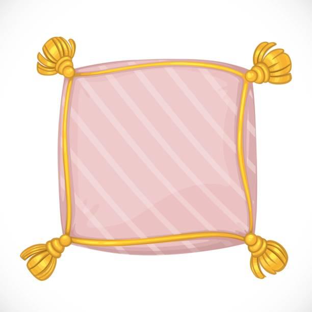 rosa quadratische kissen mit quasten isoliert auf weißem hintergrund - stapelbett stock-grafiken, -clipart, -cartoons und -symbole