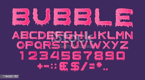 Pink sticky dripping type from sweet jelly, caramel or paint. Glossy alphabet from flowing slime isolated on purple background. Vector set of letters, numbers and currency signs with dribbles