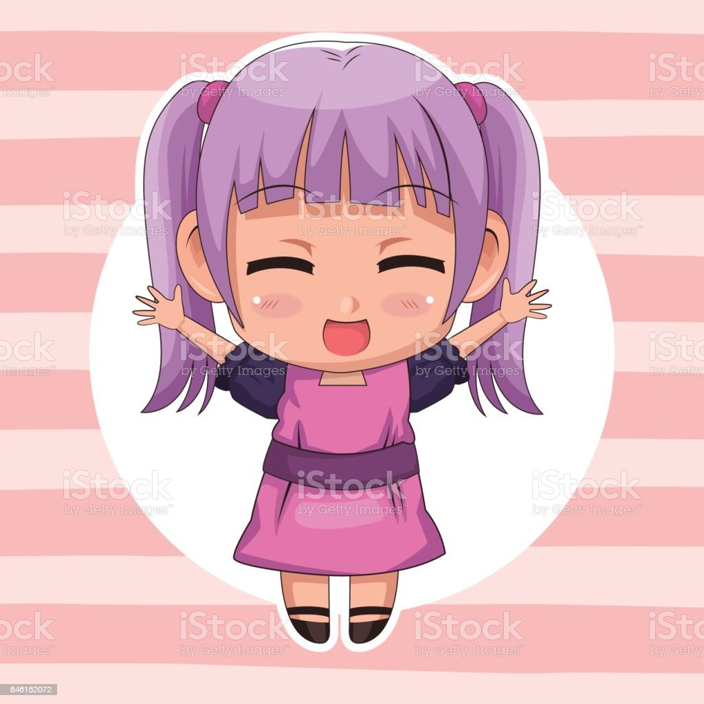 Pink Striped Color Background With Circular Frame And Cute Anime Girl Expression Happiness Royalty Free