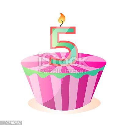 Pink striped tasty birthday cake, five years aniversary. Cartoon style. Vector illustration on white background