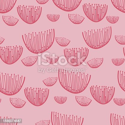 istock pink stylized floral pattern in the form of light dandelions, geometric flowers on a pastel pink red background 1330074587