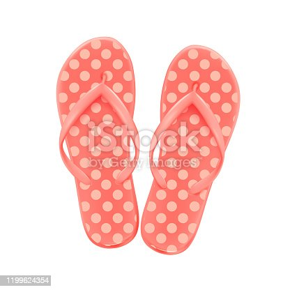 Pink summer beach flip-flops with polka dots, on a white background, shoes for the pool and beach, vector icon.