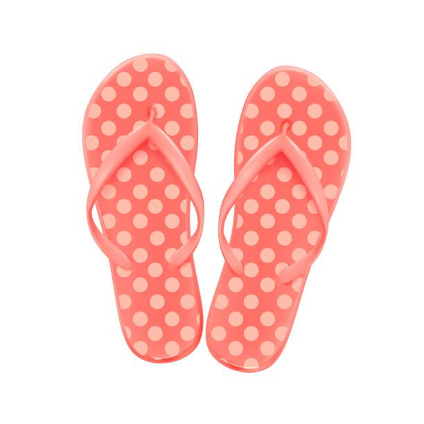 stockillustraties, clipart, cartoons en iconen met roze zomerstrand teenslippers met stippen - sandaal