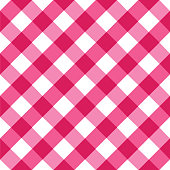 Pink and white tablecloth seamless diagonal pattern.