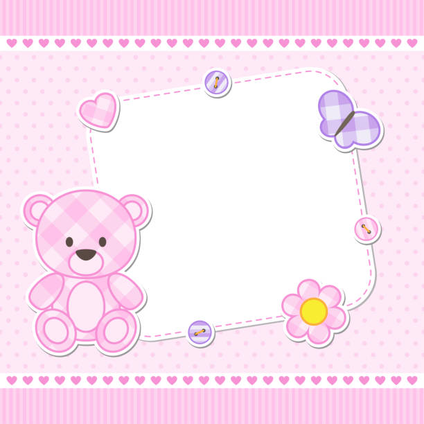 Pink teddy bear card Card with pink teddy bear for girl. Vector template with place for your text bedroom borders stock illustrations