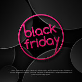 Pink text Black Friday Sale on a black background pattern of circles Creative design element for banners posters advertisements sales templates for the day Black Friday Abstract dark background Vector