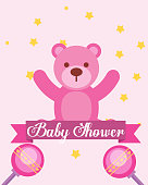 pink toy bear rattles baby shower invitation card vector illustration