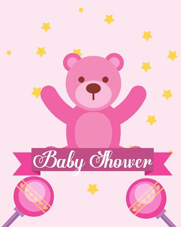 04c2d301f Ilustración de Oso Rosa Juguetes Sonajeros Tarjeta De Invitación De Ducha  Baby y más Vectores Libres de Derechos de Accesorio personal - iStock