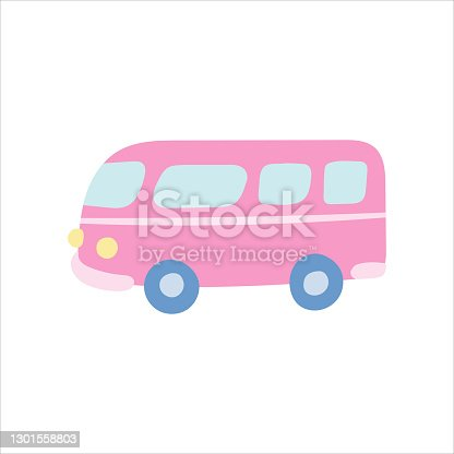 Pink travel bus on white background. Vector illustration in flat style.