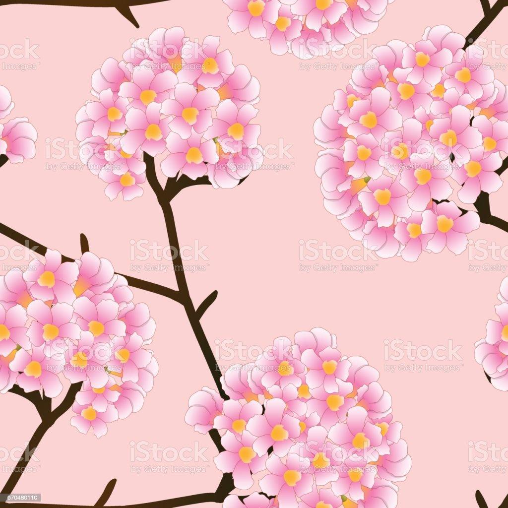 Pink Trumpet Flower on Beige Ivory Background. Vector Illustration vector art illustration