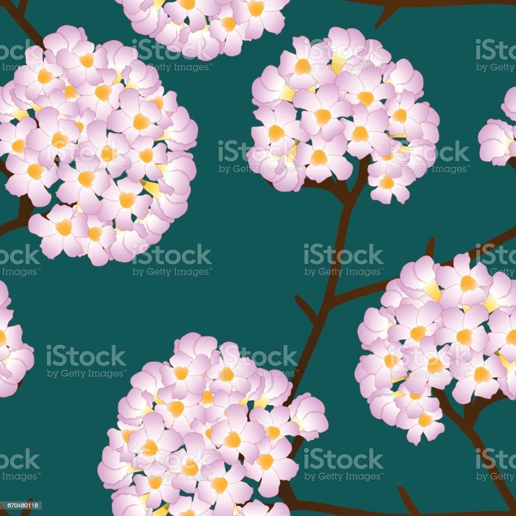 Pink Trumpet Flower on Green Background. Vector Illustration vector art illustration