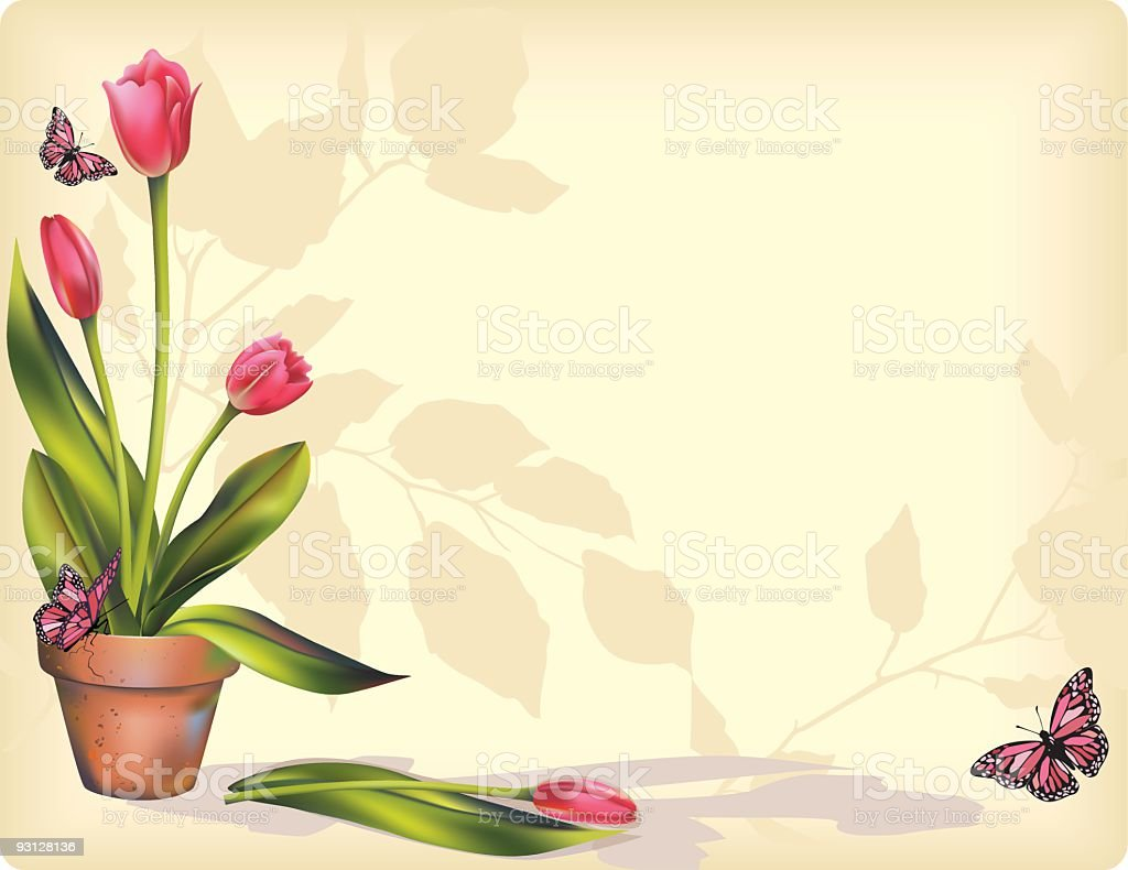 Pink Tulips Illustration royalty-free stock vector art