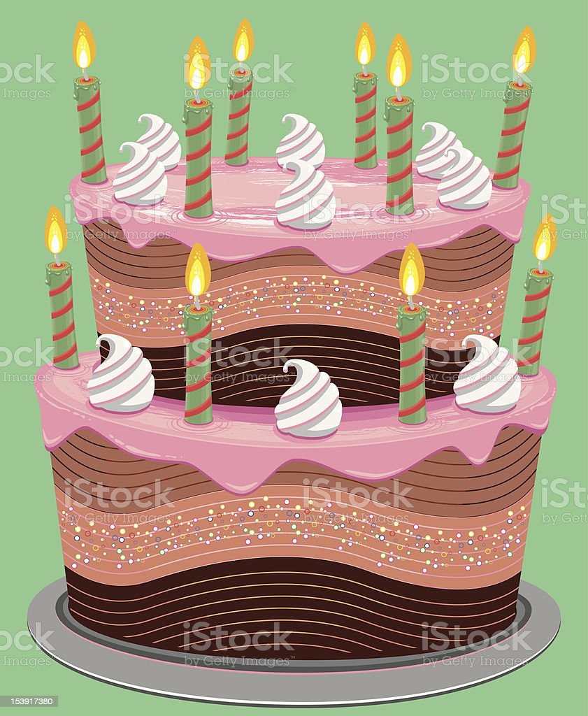 Pink Two Tier Birthday Cake Stock Illustration - Download