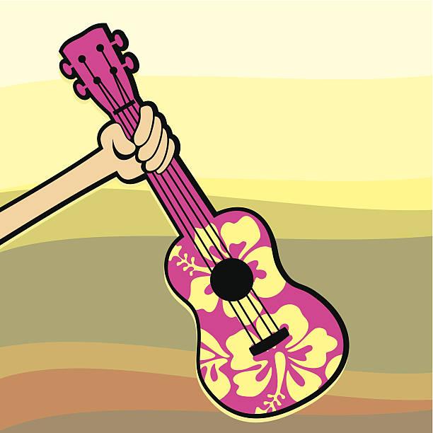 pink ukulele - lepro stock illustrations