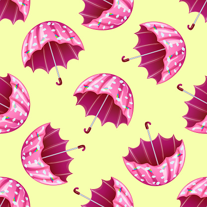 Pink umbrella in a vector style isolated. Seamless background pattern. Fabric wallpaper print texture. Vector for background, texture, wrapper pattern, frame or border.