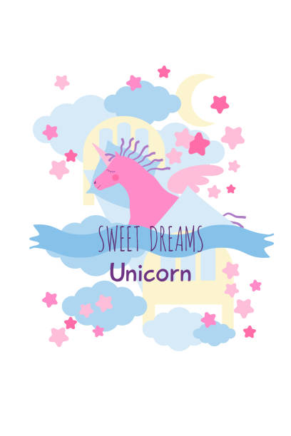 ilustrações de stock, clip art, desenhos animados e ícones de pink unicorn sweet dreams greeting card - unicorn bed