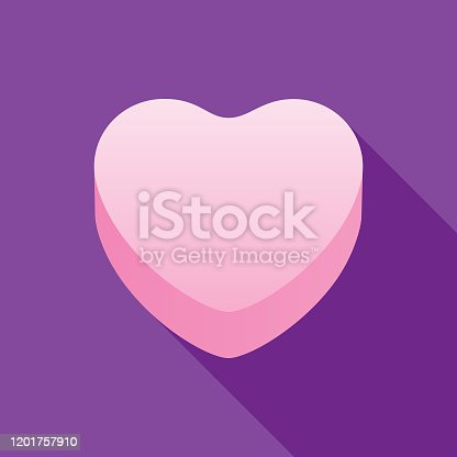 Vector illustration of a pink candy heart on a purple heart.