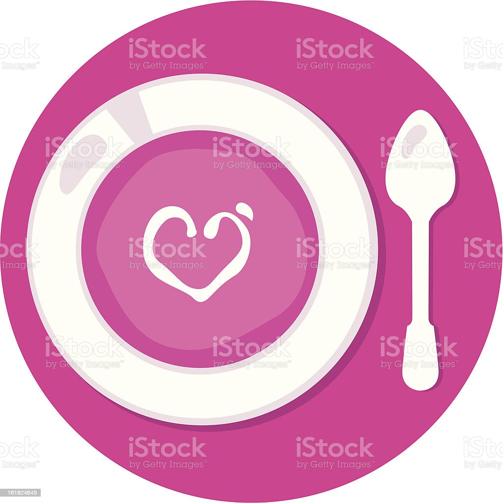 Pink Valentines love soup in circle isolated on white royalty-free stock vector art