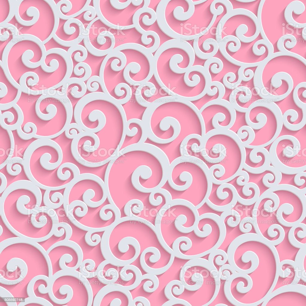 Pink Vector 3d Floral Damask Seamless Pattern vector art illustration