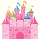 Pink Vector Castle with Multicolored Towers and Flags
