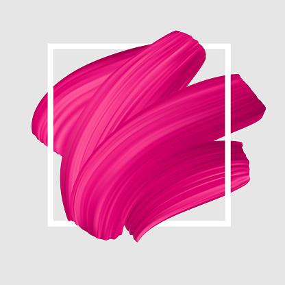 Pink vector lipstick smear. Female girly symbol.