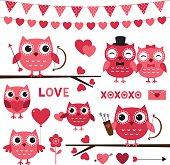 Pink vector Valentine owls and romantic decoration set