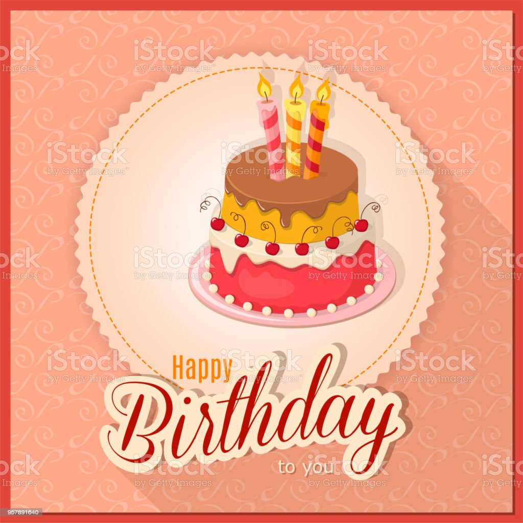 Pink Vintage Birthday Card With Cake Tier On Napkin Stock Vector Art