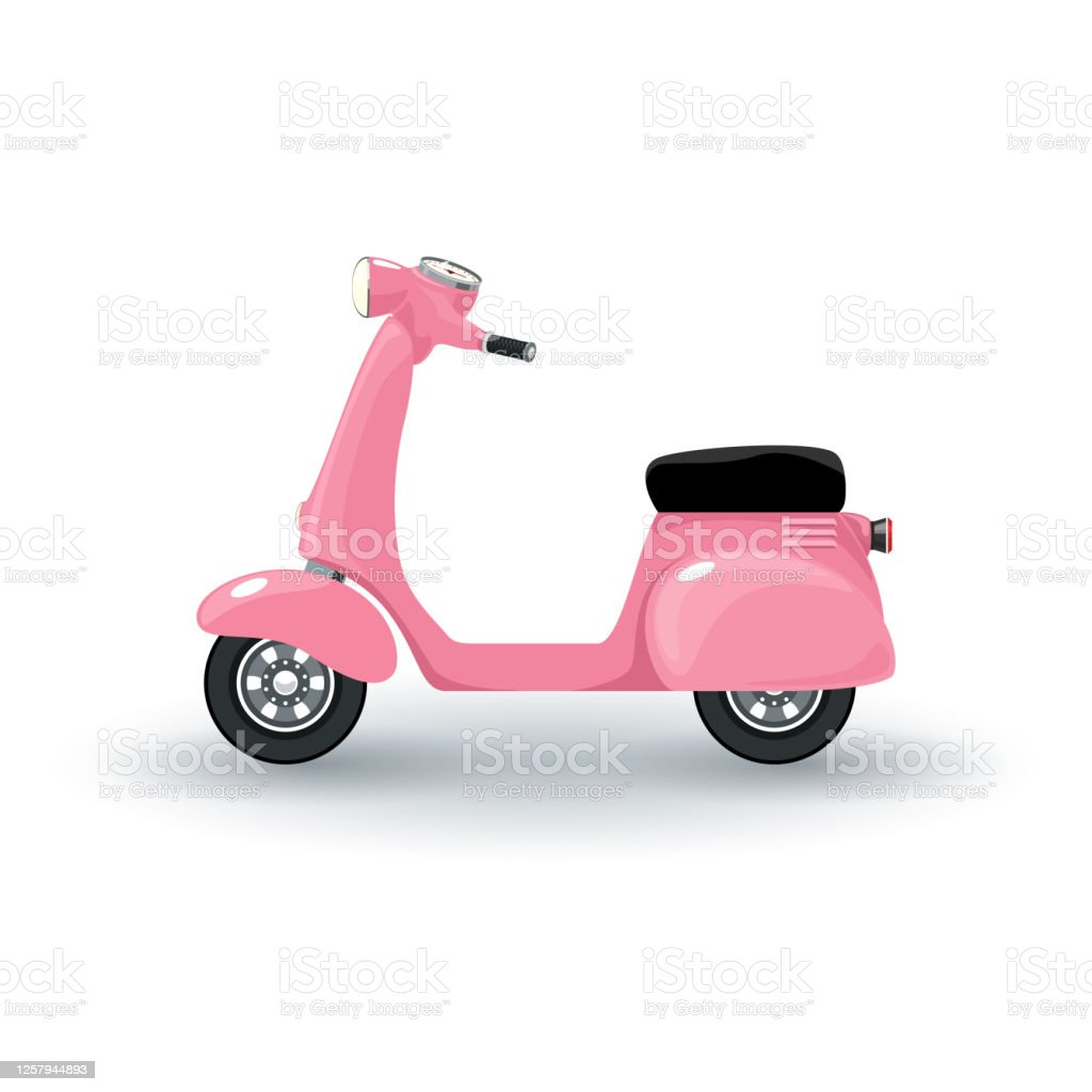 Pink Vintage Scooter Isolated Stock Illustration Download Image Now Istock