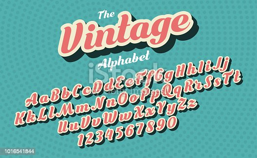 Pink italics vintage latin alphabet isolated on green background. Pop art style. Letters and figures template for sign board creation. Font design. Vector illustration.