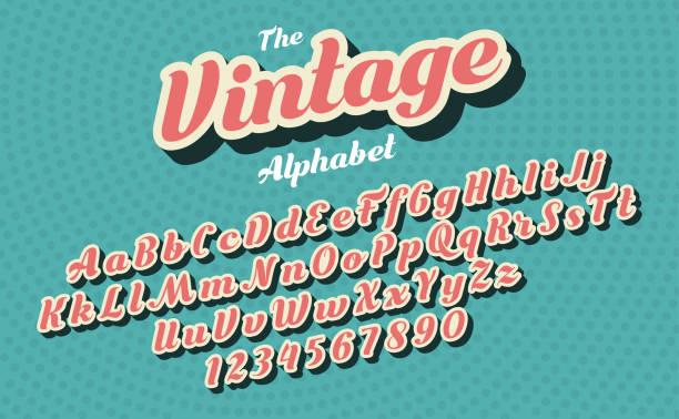 stockillustraties, clipart, cartoons en iconen met roze vintage stijl latijnse alfabet en cijfers. lettertype ontwerp. - retrostijl