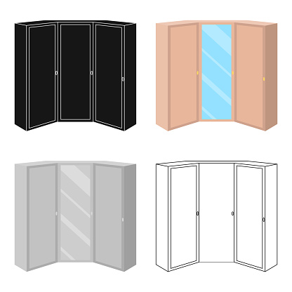Pink wardrobe with two doors and a mirror.Bedroom wardrobe.Bedroom furniture single icon in cartoon style vector symbol stock illustration web